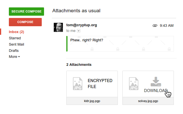 Sending encrypted attachments on Gmail