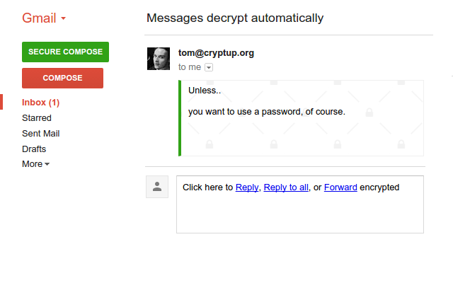 receiving PGP encrypted messages on gmail